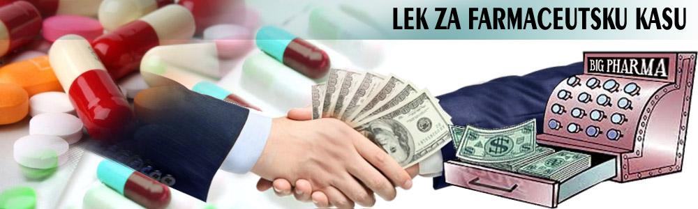 Lek za farmaceutsku kasu. Profit postaje primarni motiv zdravstva. Posle infarkta i raka sledeći ubica su lekovi. Smrt postaje neželjno dejstvo.