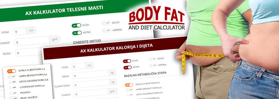 AX diet calculator pomoći će vam da brzo i lako izračunate višak telesnih masti kao i potrebu i potrošnju kalorija kako bi svoju težinu brzo doveli u red.